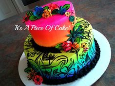 Buttercream Airbrushed Cake - * *Buttercream and airbrushed with neon colors, hand painted black flowers, fondant flowers on top and side
