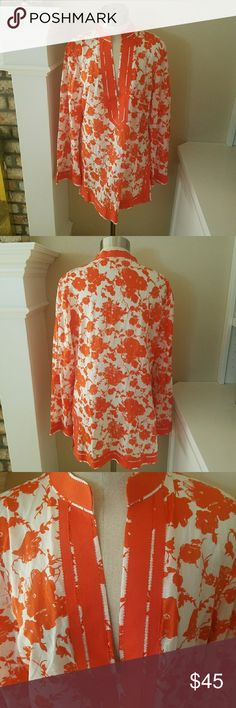 """Tory Burch Floral Tunic Gorgeous 100% cotton tunic by Tory Burch.  No size tag so pay special attentiion to these meaurements: aporox 18"""" bust and 28"""" length.  Perfume was worn with this top Tory Burch Tops Tunics"""