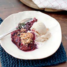 Mixed-Berry Crumble with Honey-Vanilla Ice Cream