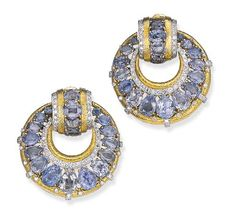 Sapphire and Diamond Earclips, David Webb