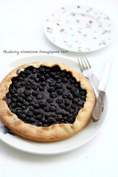 """Blueberry chocolate frangipane tart, from Always with Butter -- Eat Your Books is an indexing website that helps you find & organize your recipes. Click the """"View Complete Recipe"""" link for the original recipe."""