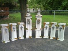 "Pinner says: Been wanting to do this project for a couple of years - finally got around to it.  They are all 1/4"" ply and 1x1's for the column and 3/4"" ply trim. 90% of the wood i had in my garage from other projects.  Gargoyles are from Target (the project started with them), and the lanterns from Home Depot. Followed Terra's painting techniques for tombstones. The shorter ones go in between my sections of fence."