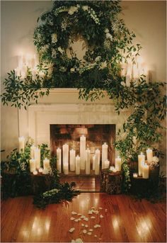 Greenery and Candle Wedding Mantel | Venue: Historic Cedarwood http://www.cedarwoodweddings.com/ | Photography: http://www.ulmerstudios.com/