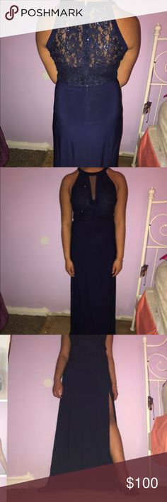 Homecoming/Prom Dress This is a Long Navy Blue Gown with Lace on the top half and back with a skirt slit on the left This dress has multiple use, can worn as a bridesmaid , prom or even homecoming dress . •Worn Once Nightway Dresses Prom