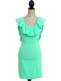 Kiss The Sky Open Back Ruffle Dress - Mint - $55.00 | Daily Chic Dresses | International Shipping