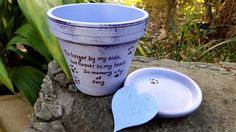 Painted Flower Pot  Pet Memorial Gift  Dog by HappyMooseGardenArt