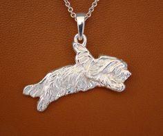 Sterling Silver Bearded Collie Angel Pendant by BestK9buds on Etsy