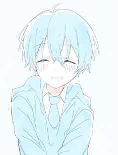 Cute Boy Drawing, Guy Drawing, Drawing Sketches, Aesthetic Art, Aesthetic Anime, Kawaii Cute, Kawaii Anime, Nagisa Shiota, Blue Anime