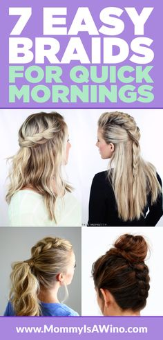 7 Easy Braids for Quick Mornings - Braids Tutorial, Easy Braids, Braided Updo, Braided Hairstyle