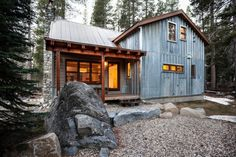 Rustic corrugated metal siding exterior rustic with ski area ski area modern cabin Steel Building Homes, Metal Shop Building, Building Facade, Building A House, Building Ideas, Morton Building, Building Images, Building Materials, Metal Siding