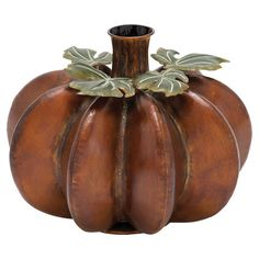 Iron pumpkin vase with leaf detail.  Product: VaseConstruction Material: IronColor: Orange and g...