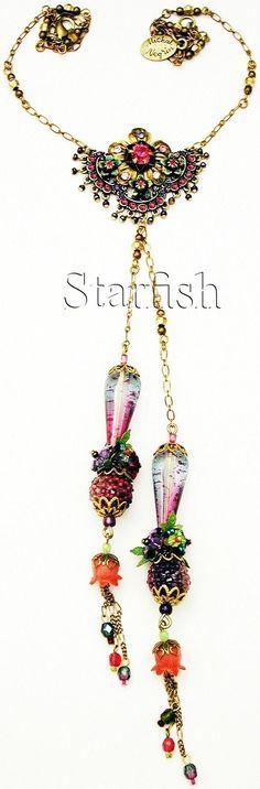 Michal Negrin Grapefruit Fantasy Crystal Flowers Necklace | eBay