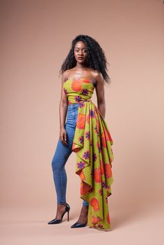 African crop top with side flounce /African fashion /African style /party dress dress/African attire /African wear /Ankara dress - Made with high quality fabric with zipper/Ankara fabric/African Print African Fashion Ankara, Ghanaian Fashion, African Inspired Fashion, African Print Dresses, African Dresses For Women, African Print Fashion, Africa Fashion, African Attire, African Wear