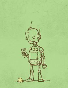robot con helado de vainilla