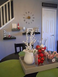 Easy Decorations...Cheap Vases, switch out things on the inside for different seasons.