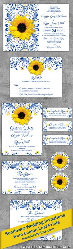 Royal blue floral yellow sunflower wedding invitation set. Very elegant. It will be available in navy blue and burgundy in place of the royal blue soon. Other colors combos can be added at your request. Shop for it on Lemon Leaf Prints: https://lemonleafprints.com/royal-blue-sunflower-wedding-invitation-royal-blue-and-yellow-floral.html