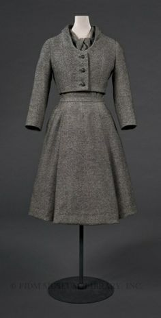 Christian Dior  Fall/Winter 1955 by krystal. How can a gray monotone look so good? Its called being a classic!