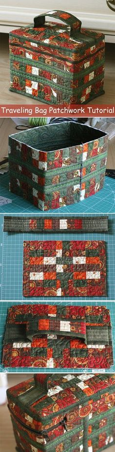 How to make picture tutorial travel Bag. Sewing quilting patchwork pattern. http://www.handmadiya.com/2015/09/traveling-bag-patchwork-tutorial.html