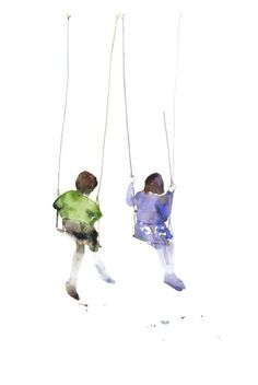 this listing is for an archival print of my original watercolor painting of two little girls on the swings, talking. it brings me  back to sunny days