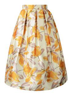 Yellow Floral High Waist Pleated Midi Skirt | Choies