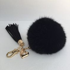 10cm-11cm Genuine Rabbit fur ball pompon plush key chain comes with beautiful heart leather tassel This pom pom is made out of very soft rabbit