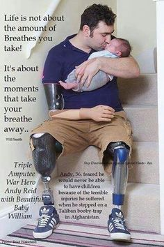 Triple amputee war hero Any Reid with his newborn son William. hearing/seeing heroes/peopleinuniform give me chills. i do not think i will ever be able to express the depth of my gratitude. Real Hero, My Hero, My Champion, Support Our Troops, American Pride, Faith In Humanity, God Bless America, Way Of Life, Good People