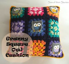 Owl Granny Square Cushion | www.sumoftheirstories.com | #crochet #stashbuster