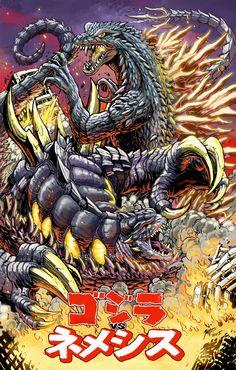 Godzilla vs Nemesis - special print by KaijuSamurai.deviantart.com on @DeviantArt