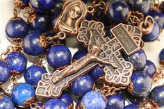 10mm Lapis Rosary in Copper