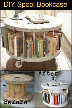 Lieblich This Recycled Timber Spool Turned Into Bookcase Can Also Be Used As A  Coffee Table,