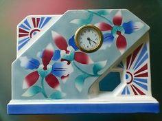 Art Deco Spritzdekor Keramik Uhr, Kaminuhr, Tischuhr Fabrique en Belgique 1930
