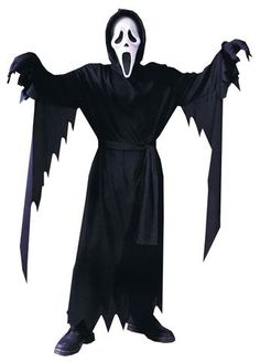 Our Little Boys Ghost Face costume features the movie slasher's signature scream mask, black robe and belt. Officially licensed Ghost Face costume from the Scream movie franchise. Horror Halloween Costumes, Costume Garçon, Maske Halloween, Costume Ideas, Halloween Masks, Adult Costumes, Horror Movie Costumes, Angel Costumes, Kid Outfits