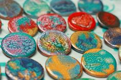 Ceramic brooch, Pebeo Fantasy Prisme paints | Flickr - Photo Sharing!