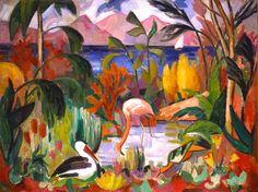 """""""Paysage coloré aux oiseaux aquatique"""". Jean Metzinger,  1907."""
