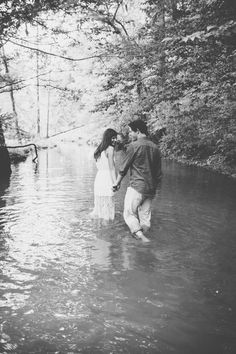 wading through the creek together - sweet e shoot idea