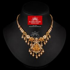 Traditional gold necklaces for women from the house of Kameswari. Shop for antique gold necklace, exquisite diamond necklace and more! Gold Bangles Design, Short Necklace, Necklace Set, Pearl Necklace, Necklace Online, Necklace Designs, Jewellery Designs, Gold Jewelry, Gold Necklaces