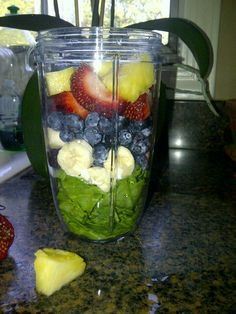 Making a delicious smoothie with our new #NutriBullet #NutriBlast