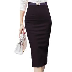 New Fashion Women Skirt Midi Skirt OL Sexy Open Slit Slim stretch High waist Pencil Skirt Elegant Ladies Skirts 2 Colors #Affiliate
