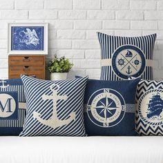 Anchor Pillow Cover Marine culture Throw Pillowcase Sailor's memory Cotton linen Cushion Cover for Sofa Bedroom Home Decorative - 10 MINUS Nautical Pillow Covers, Nautical Cushions, Blue Pillow Cases, Blue Cushion Covers, Cheap Cushion Covers, Blue Cushions, Printed Cushions, Decorative Pillow Cases, Cushions On Sofa