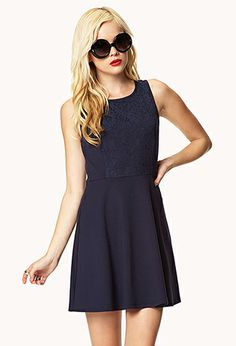 Lace-Paneled A-Line Dress | FOREVER21 - 2039291359