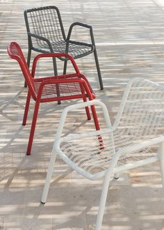 Stackable metal garden chair with armrests STITCH - Ethimo