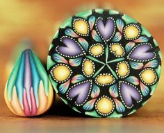 HALF PRICE SALE Small Kaleidoscope Polymer Clay Cane by ikandiclay