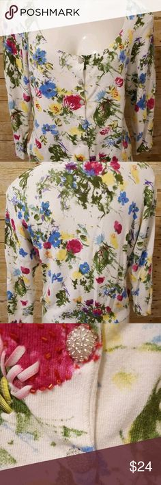 Roxie B Floral Cardigan Roxie B Floral Sweater Cardigan Embellished Ribbon Beads Size L Roxie B Sweaters Cardigans
