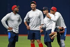 Jackie Bradley Jr, JD Martinez, Andrew Benintendi, and Mookie Betts Red Sox Baseball, Baseball Uniforms, Baseball Season, Andrew Benintendi, Mookie Betts, Red Sox Nation, Best Basketball Shoes, Boston Strong, The Outfield