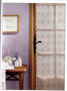 Crochet curtains with diagram pattern