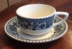 Vintage Royal China USA Blue and White Colonial Heritage Flat Cup