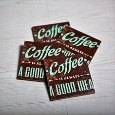 This coffee wooden coasters set contains four hand-painted coasters, crafted using decoupage technique. These coasters can be purchased as a hostess gift, birthday gift or for party favors, wedding favors etc. A housewarming gift set available in a variety of designs for a home décor that offers color, beauty, and inspiration.