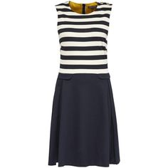 Tommy Hilfiger Fekla Stripe Dress, Navy Blazer/Snow White ($165) ❤ liked on Polyvore featuring dresses, navy blue cocktail dress, navy blue dress, navy blue maxi dress, maxi dresses and sleeved maxi dress