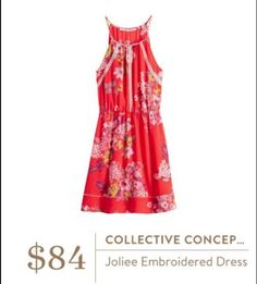 Stitch Fix May 2016 - Collective Concepts Joliee Embroidered Dress, $84. Red floral lightweight summer dress.I love Stitch Fix! Personalized styling service and it's amazing!! Fill out a style profile with sizing and preferences. Then your very own stylist selects 5 pieces to send to you to try out at home. Keep what you love and return what you don't. Try it out using the link! #stitchfix @stitchfix. Stitchfix Spring 2016. Stitchfix Summer 2016. https://www.stitchfix.com/referral/5634870.