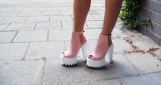 Pink Cleated Sole Platforms Shoes Public Desire